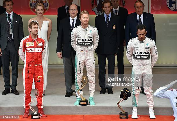 Winner Mercedes AMG Petronas F1 Team's German driver Nico Rosberg secondplaced Scuderia Ferrari's German driver Sebastian Vettel and thirdplaced...