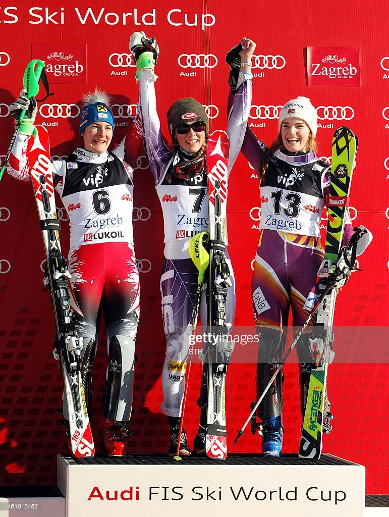 Winner <a gi-track='captionPersonalityLinkClicked' href=/galleries/search?phrase=Mikaela+Shiffrin&family=editorial&specificpeople=7472698 ng-click='$event.stopPropagation()'>Mikaela Shiffrin</a> of the USA (C), Austria's second placed <a gi-track='captionPersonalityLinkClicked' href=/galleries/search?phrase=Kathrin+Zettel&family=editorial&specificpeople=2113891 ng-click='$event.stopPropagation()'>Kathrin Zettel</a> (L) and third placed <a gi-track='captionPersonalityLinkClicked' href=/galleries/search?phrase=Nina+Loeseth&family=editorial&specificpeople=4157062 ng-click='$event.stopPropagation()'>Nina Loeseth</a> of Norway (R) celebrate on the podium after the FIS alpine women's slalom competition on Sljeme mountain, above the capital Zagreb on January 4, 2015.