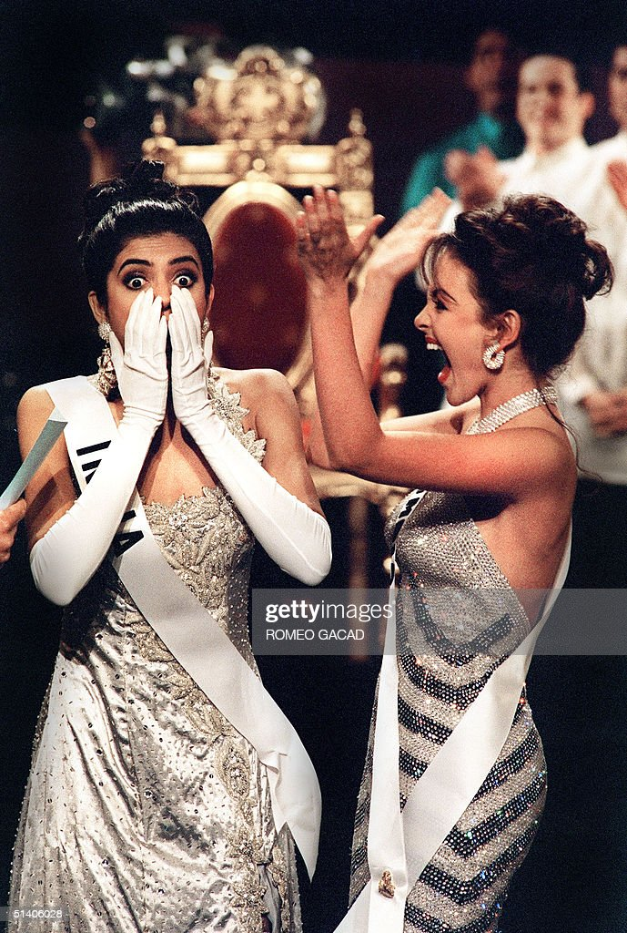Winner Miss India Sushmita Sen is left stunned while Miss Colombia Carolina Gomez shouts with joy as Sen is announced the new Miss Universe 21 May...
