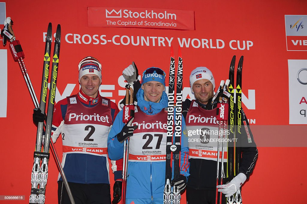 Winner Nikita Krukov, (C) of Russia, second placed Ola Vigen Hattestad (L) and third placed Petter Northug (R) of Norway celebrate after the men's World Cup classic Royal Palace sprint in central Stockholm on February 11, 2016 / AFP / TT News Agency / Soren Andersson/TT / Sweden OUT