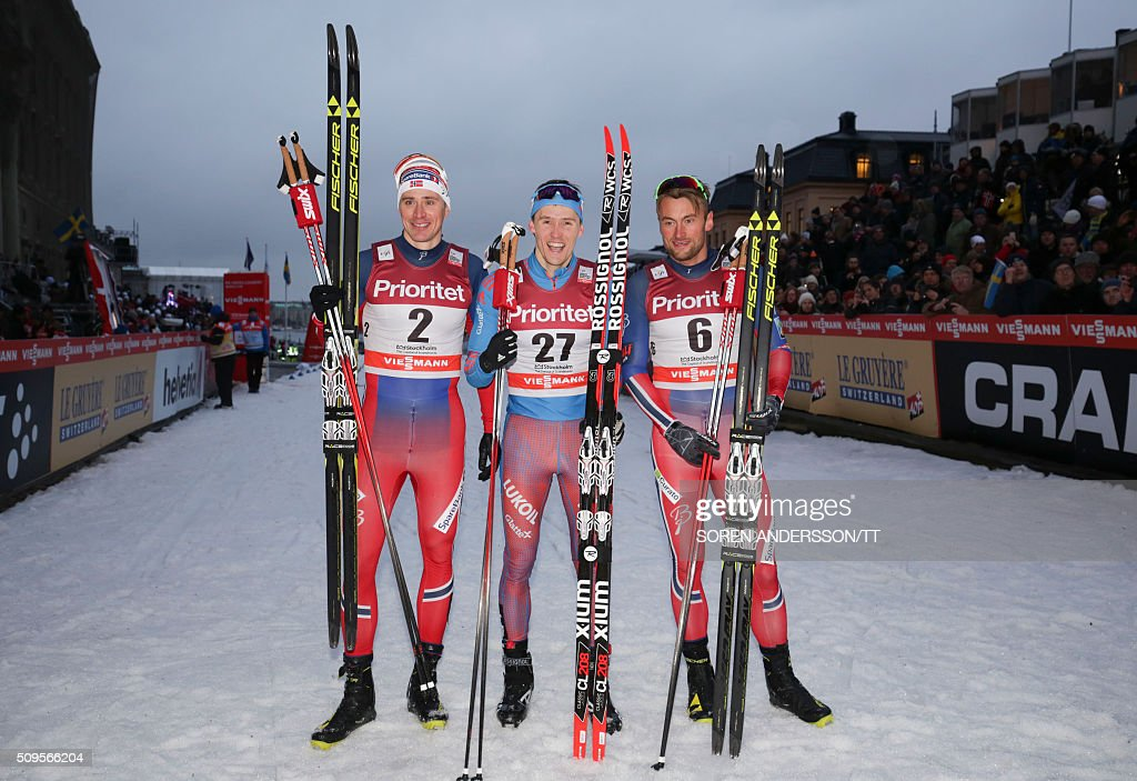 Winner Nikita Krukov, (C) of Russia, second placed Ola Vigen Hattestad (L) second place and third placed Petter Northug (R) of Norway pose after the men's World Cup classic Royal Palace sprint in central Stockholm on February 11, 2016 / AFP / TT News Agency / Soren Andersson/TT / Sweden OUT