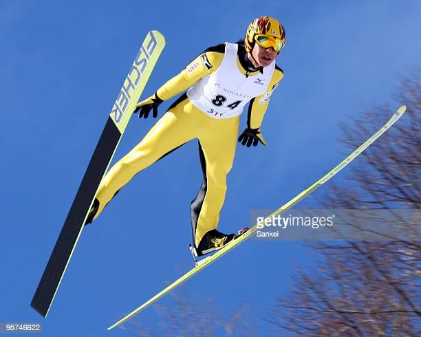 Winner Noriaki Kasai jumps during the STV Cup on the Okurayama Jump Stadium on January 10 2010 in Sapporo Hokkaido Japan