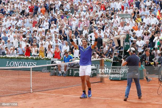 Winner of 10 Roland Garros and of the 2017 edition Rafael Nadal looks very happy after the Men Final of the 2017 French Tennis Open Day Fithteen at...