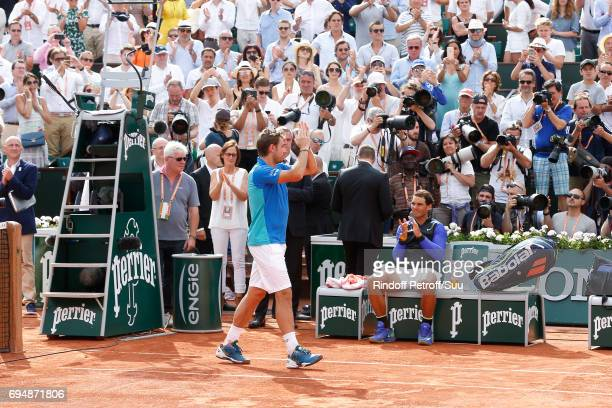 Winner of 10 Roland Garros and of the 2017 edition Rafael Nadal congratulates Finalist Stan Wawrinka after the Men Final of the 2017 French Tennis...