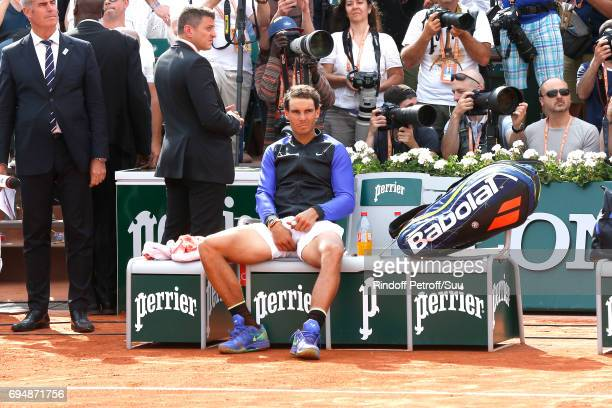 Winner of 10 Roland Garros and of the 2017 edition Rafael Nadal sits after the Men Final of the 2017 French Tennis Open Day Fithteen at Roland Garros...