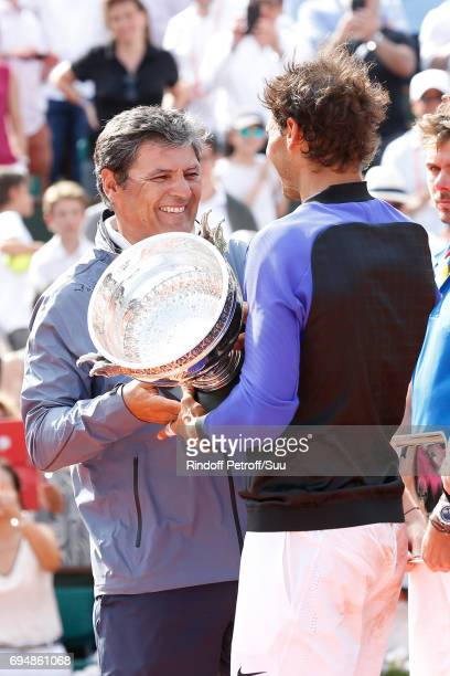 Winner of 10 Roland Garros and of the 2017 edition Rafael Nadal stands with his Uncle and Trainer Toni Nadal after the Men Final of the 2017 French...