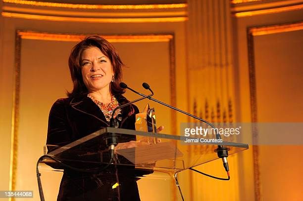 Winner of 2012 AMEE Award in Sound Recordings Rosanne Cash speaks at the AFTRA Foundation's 2012 AFTRA Media and Entertainment Excellence Awards in...