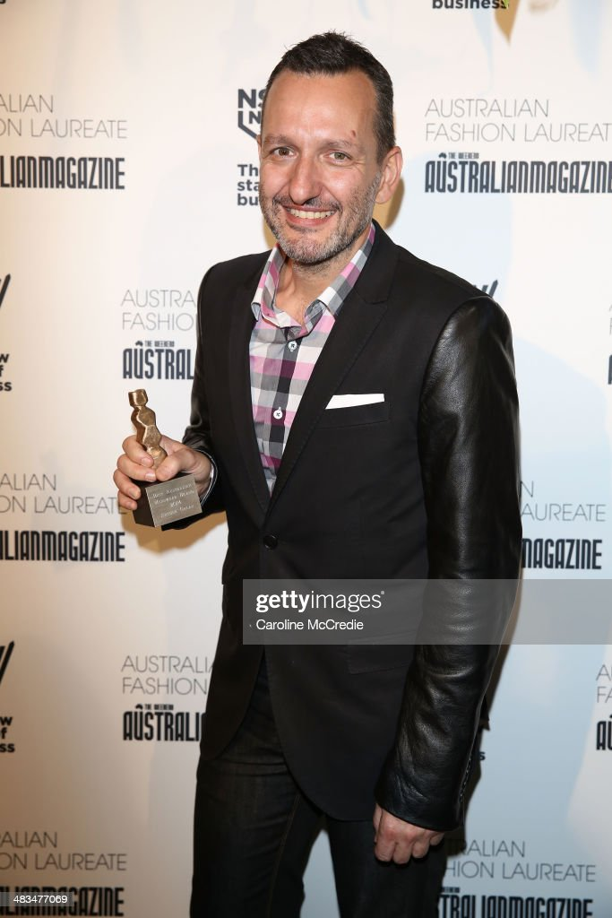 Winner of Best Australian Menswear Brand, <a gi-track='captionPersonalityLinkClicked' href=/galleries/search?phrase=Arthur+Galan&family=editorial&specificpeople=2237960 ng-click='$event.stopPropagation()'>Arthur Galan</a> poses at the Australian Fashion Laureate during Mercedes-Benz Fashion Week Australia 2014 at Star Lounge, Carriageworks on April 9, 2014 in Sydney, Australia.