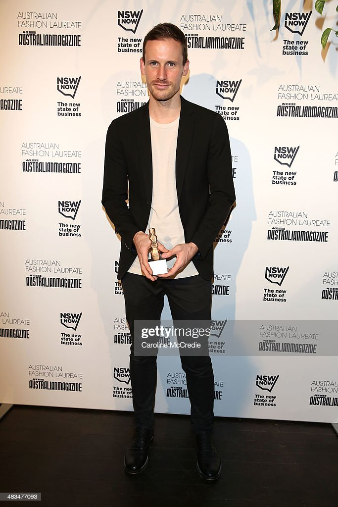 Winner of Best Australian Womenswear Brand, <a gi-track='captionPersonalityLinkClicked' href=/galleries/search?phrase=Dion+Lee+-+Fashion+Designer&family=editorial&specificpeople=15835562 ng-click='$event.stopPropagation()'>Dion Lee</a> poses at the Australian Fashion Laureate during Mercedes-Benz Fashion Week Australia 2014 at Star Lounge, Carriageworks on April 9, 2014 in Sydney, Australia.