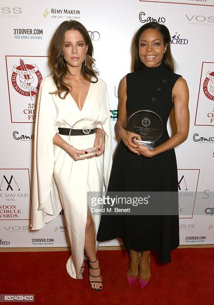 Winner of Best British/Irish Actress Kate Beckinsale and winner of Best Supporting Actress Naomie Harris at The London Critics' Circle Film Awards at...