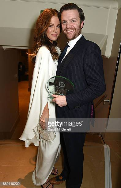 Winner of Best British/Irish Actress Kate Beckinsale with winner of Best Supporting Actor Tom Bennett at The London Critics' Circle Film Awards at...