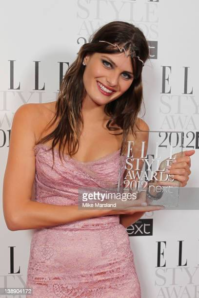 Winner of Best Model award Isabeli Fontana poses in the press room during the ELLE Style Awards 2012 at The Savoy Hotel on February 13 2012 in London...