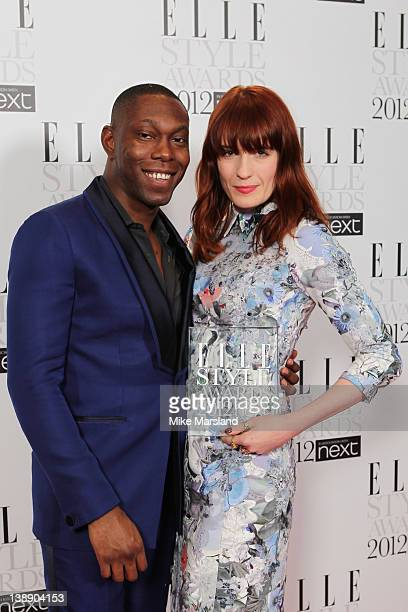 Winner of Best Music Act award Florence Welch poses with Dizzee Rascal in the press room during the ELLE Style Awards 2012 at The Savoy Hotel on...