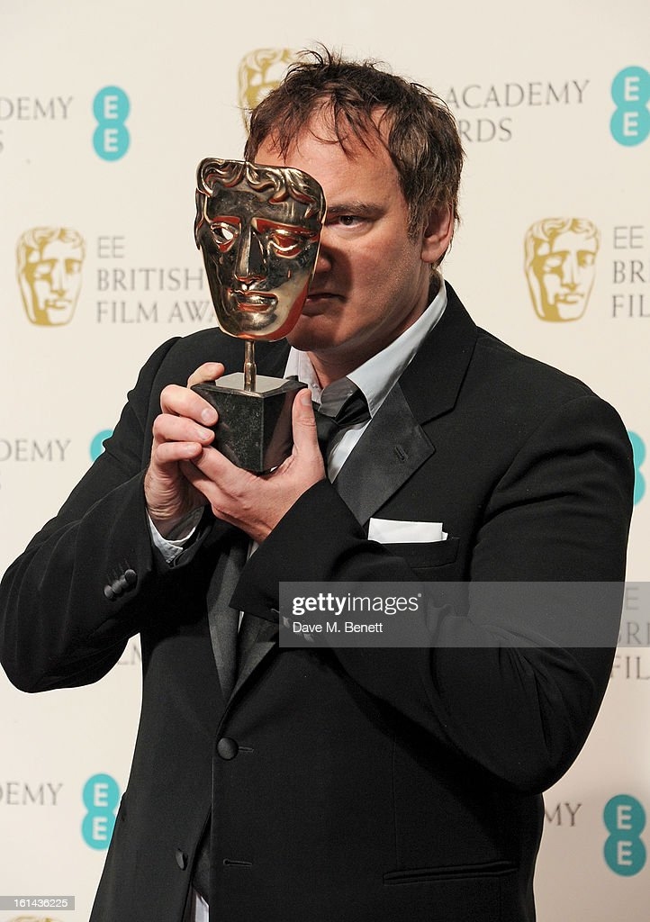 Winner of Best Original Screenplay <a gi-track='captionPersonalityLinkClicked' href=/galleries/search?phrase=Quentin+Tarantino&family=editorial&specificpeople=171796 ng-click='$event.stopPropagation()'>Quentin Tarantino</a> poses in the Press Room at the EE British Academy Film Awards at The Royal Opera House on February 10, 2013 in London, England.