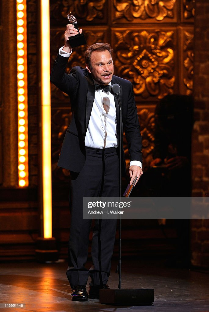 Winner of Best Performance by an Actor in a Leading Role in a Musical <a gi-track='captionPersonalityLinkClicked' href=/galleries/search?phrase=Norbert+Leo+Butz&family=editorial&specificpeople=206859 ng-click='$event.stopPropagation()'>Norbert Leo Butz</a> speaks on stage during the 65th Annual Tony Awards at the Beacon Theatre on June 12, 2011 in New York City.