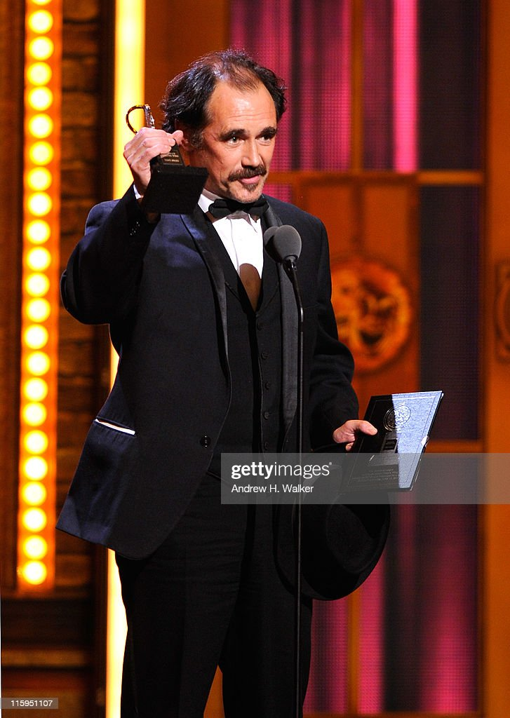 Winner of Best Performance by an Actor in a Leading Role in a Play <a gi-track='captionPersonalityLinkClicked' href=/galleries/search?phrase=Mark+Rylance&family=editorial&specificpeople=726870 ng-click='$event.stopPropagation()'>Mark Rylance</a> speaks on stage during the 65th Annual Tony Awards at the Beacon Theatre on June 12, 2011 in New York City.