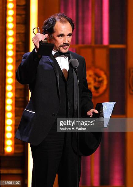 Winner of Best Performance by an Actor in a Leading Role in a Play Mark Rylance speaks on stage during the 65th Annual Tony Awards at the Beacon...