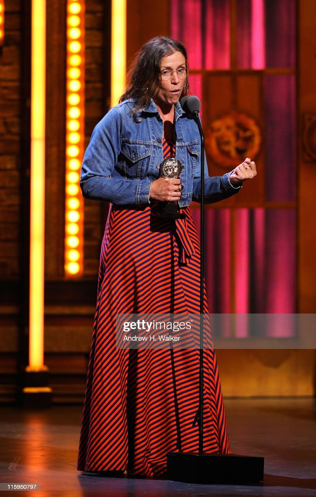 Winner of Best Performance by an Actress in a Leading Role in a Play Frances McDormand speaks on stage during the 65th Annual Tony Awards at the Beacon Theatre on June 12, 2011 in New York City.