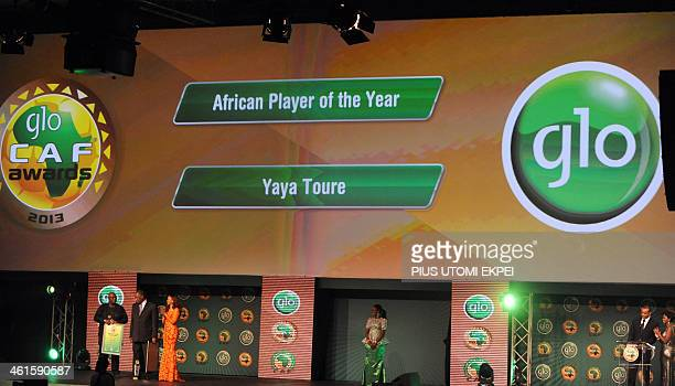 Winner of CAF African Footballer of the Year Award and Manchester City midfielder Yaya Toure shown on the screen during the award ceremony in Lagos...