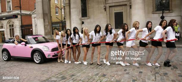 Winner of Miss England 2008 Laura Coleman being pulled along in a Mini convertible by Miss England candidates Katrina Hodge Rachel Christie Suzy...