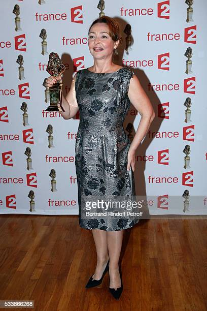 Winner of 'Moliere de la Comedienne dans un spectacle de Theatre prive' for 'Fleur de Cactus' actress Catherine Frot attends 'La 28eme Nuit des...