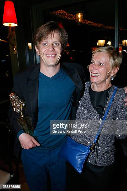 Winner of 'Moliere de lhumour' for his Show Alex Lutz and his mother Francine Hummel attend the dinner following 'La 28eme Nuit des Molieres' Held at...