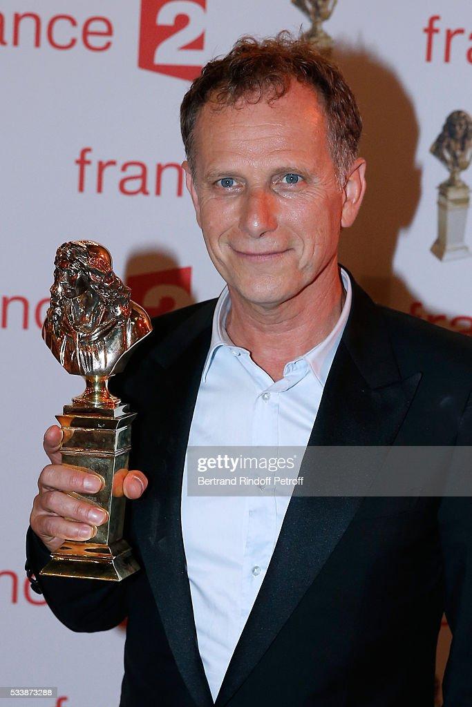 Winner of 'Moliere du comedien dans un spectacle du Theatre public' for 'Vu du Pont' actor Charles Berling attends 'La 28eme Nuit des Molieres' on...
