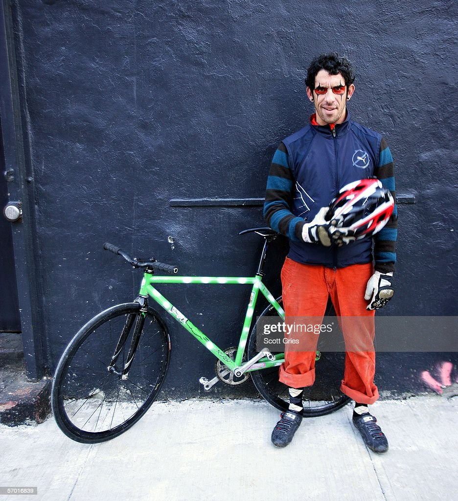 Winner of Monster Track 2006 Alfred Bobe poses for a photo at Rock Star Bar March 4, 2006 in New York City. Monster Track is an illegal bike race throughout New York City for bicycle messengers that involves racing from checkpoint to checkpoint on bikes with no brakes.