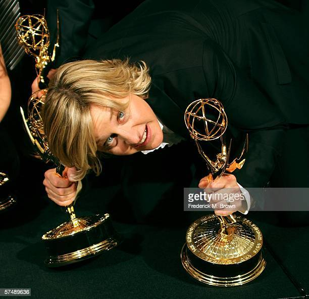 Winner of 'Outstanding Talk Show' for The Ellen DeGeneres Show executive producer/host Ellen DeGeneres poses in the press room at the 33rd Annual...
