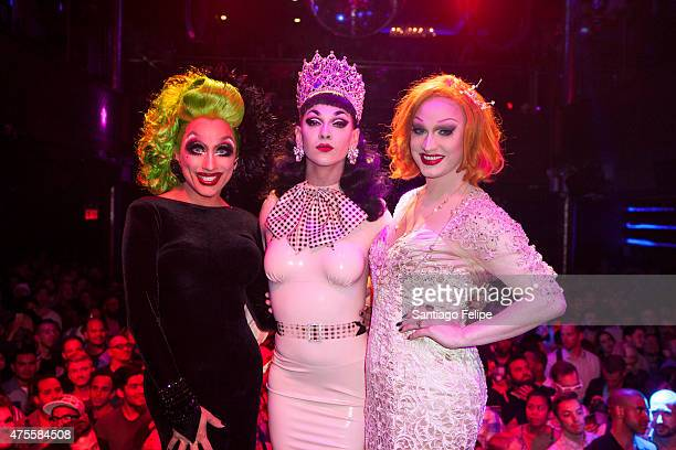 Winner of 'RuPaul's Drag Race' Season 7 Violet Chachki with Bianca Del Rio and Jinkx Monsoon at Stage48 on June 1 2015 in New York City