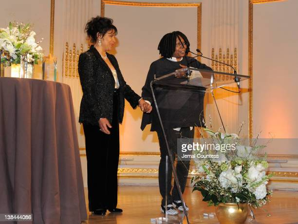 Winner of the 2012 AMEE Award in Entertainment Phylicia Rashad and actress Whoopi Goldberg speak at the AFTRA Foundation's 2012 AFTRA Media and...