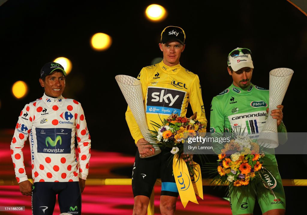 Winner of the 2013 Tour de France, <a gi-track='captionPersonalityLinkClicked' href=/galleries/search?phrase=Chris+Froome&family=editorial&specificpeople=5428054 ng-click='$event.stopPropagation()'>Chris Froome</a> of Great Britain and SKY Procycling (C) celebrates alongside second placed, best young rider and King of the Mountain Nairo Quintana of Colombia and Movistar Team and winner of the Green Jersey Points Classification <a gi-track='captionPersonalityLinkClicked' href=/galleries/search?phrase=Peter+Sagan&family=editorial&specificpeople=4846179 ng-click='$event.stopPropagation()'>Peter Sagan</a> of Slovakia and Cannondale on the podium after the twenty first and final stage of the 2013 Tour de France, a processional 133.5KM road stage ending in an evening race around the Champs-Elysees, on July 21, 2013 in Paris, France.