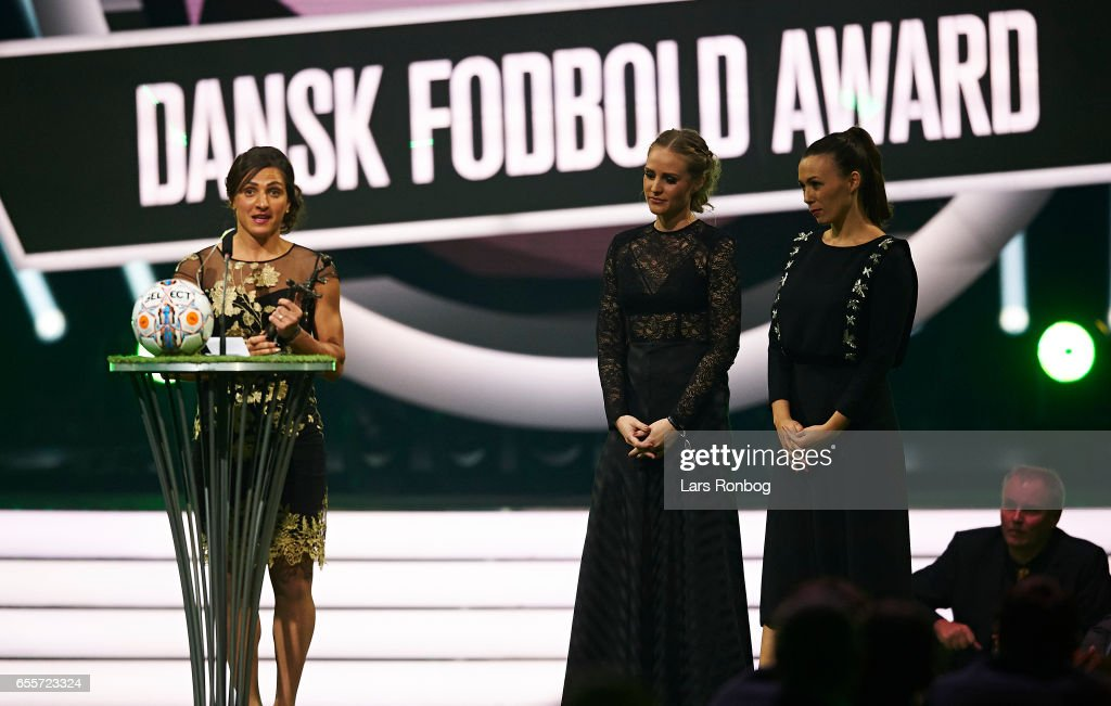 Winner of the 3F Female Player of the Year Award Florentina Olar of Fortuna Hjorring receives the trophy on stage during the Danish Football Award Show at Forum Horsens on March 20, 2017 in Horsens, Denmark.