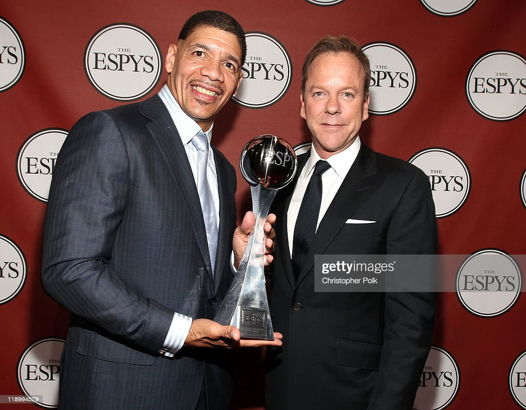 ESPY winner of The Arthur Ashe Award for Courage and exoneree Dewey Bozella and actor/presenter Kiefer Sutherland attend The 2011 ESPY Awards at Nokia Theatre L.A. Live on July 13, 2011 in Los Angeles, California.