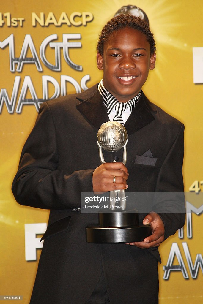 Winner of the award for Outstanding Actor in a Television Movie, Mini-Series or Dramatic Special, actor Jaishon Fisher poses in the press room during the 41st NAACP Image awards held at The Shrine Auditorium on February 26, 2010 in Los Angeles, California.