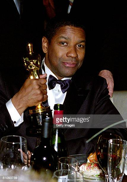 Winner Of The Best Actor Academy Award For His Performance In 'Training Day' Denzel Washington Poses For A Photograph At The Govenor's Ball After The...