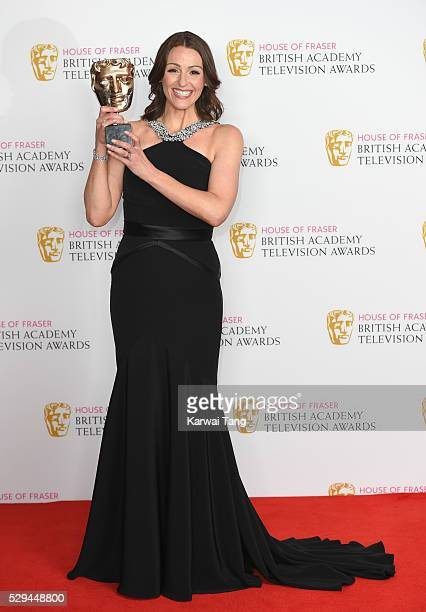 Winner of the Best Actress award Suranne Jones poses in the winners room at the House Of Fraser British Academy Television Awards 2016 at the Royal...