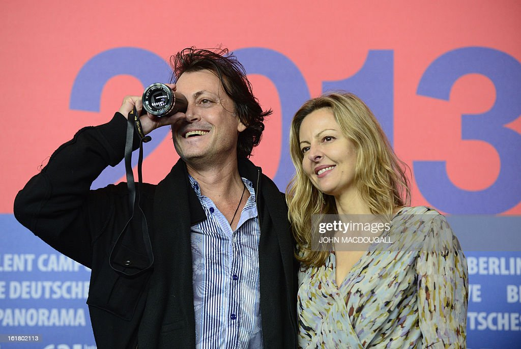 Winner of the Best First Feature Award for the movie 'The Rocket' director Kim Mordaunt (L) and producer Sylvia Wilcynski pose ahead of a press conference after the awards ceremony of the 63rd Berlinale Film Festival in Berlin on February 16, 2013.