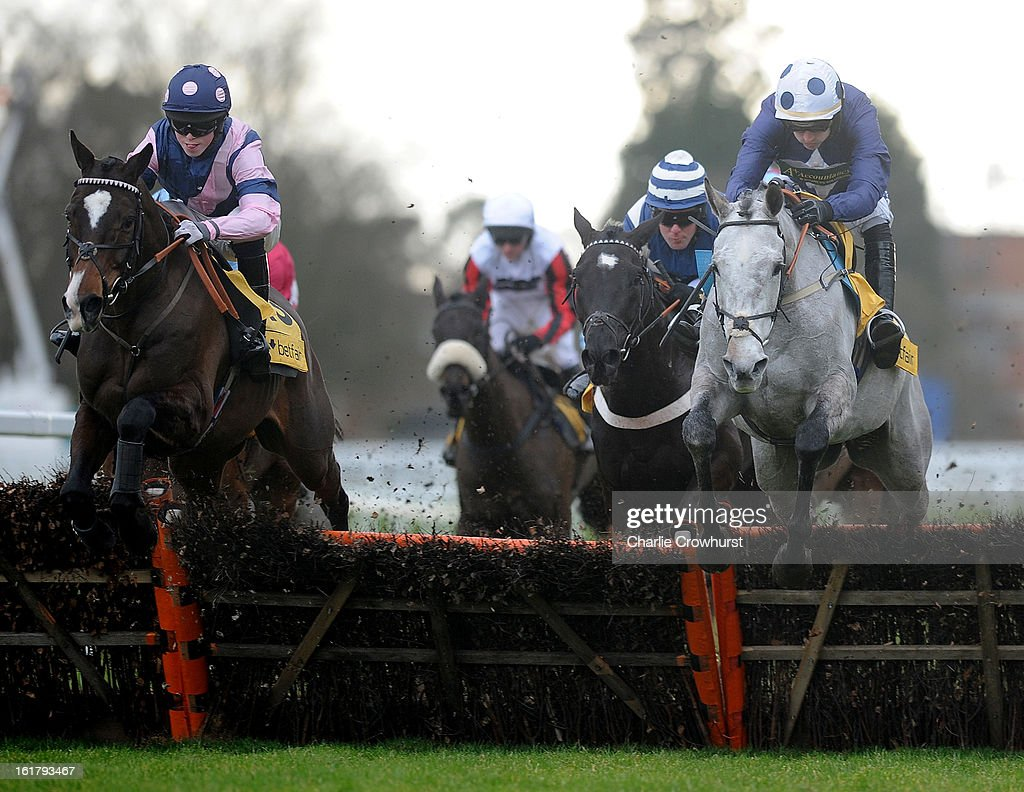 Winner of The Betfair.Don't Settle For Less Handicap Hudle Race Kuilsriver (L) ridden by Thomas Garner clear a hurdle down the back straight at Ascot racecourse on February 16, 2013 in Ascot, England.