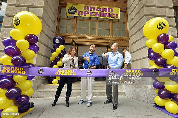 Winner of 'The Biggest Loser' Danni Allen franchise general manager Daniel Figueroa and Planet Fitness franchise owner James Innocenti cut the ribbon...