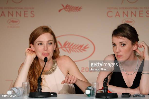 Winner of the Camera d'Or for best first film 'Jeune femme' director Leonor Serraille and actress Laetitia Dosch attend the Palme D'Or winner press...