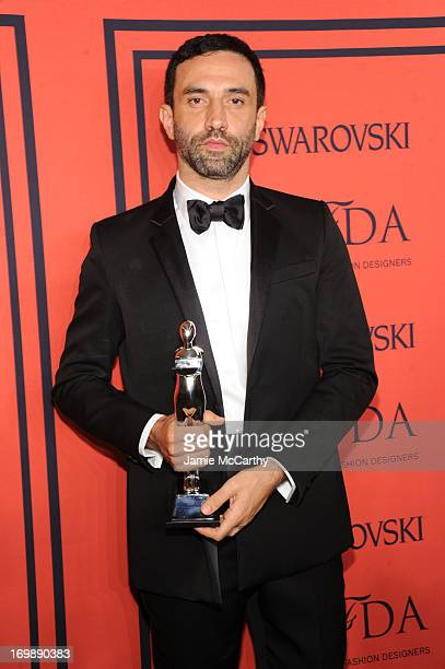 Winner of the CFDA International Award Givenchy's Riccardo Tisci attends the 2013 CFDA Fashion Awards at Alice Tully Hall on June 3 2013 in New York...