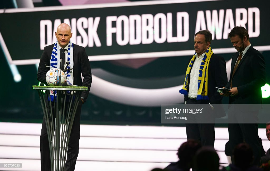 Winner of the Coach of the Year Award Stale Solbakken of FC Copenhagen receives the trophy on stage during the Danish Football Award Show at Forum Horsens on March 20, 2017 in Horsens, Denmark.