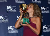 Winner of the Coppa Volpi for best Actress Award Valeria Golino attends the award winners photocall during the 72nd Venice Film Festival on September...