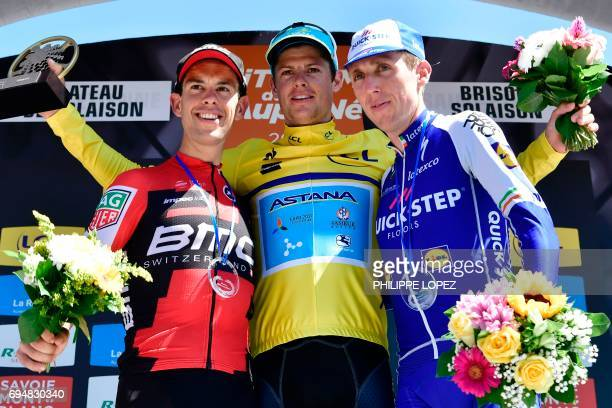 Winner of the Criterium du Dauphine 2017 Denmark's Jakob Fuglsang secondplaced Australia's Richie Porte and thirdplaced Ireland's Daniel Martin...