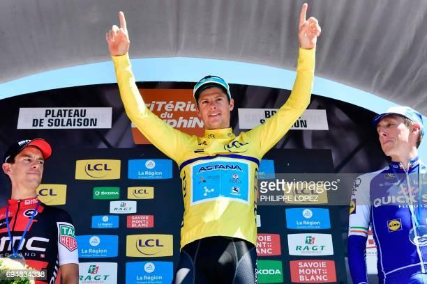 Winner of the Criterium du Dauphine 2017 Denmark's Jakob Fuglsang secondplaced Australia's Richie Porte and thirdplaced Ireland's Daniel Martin...