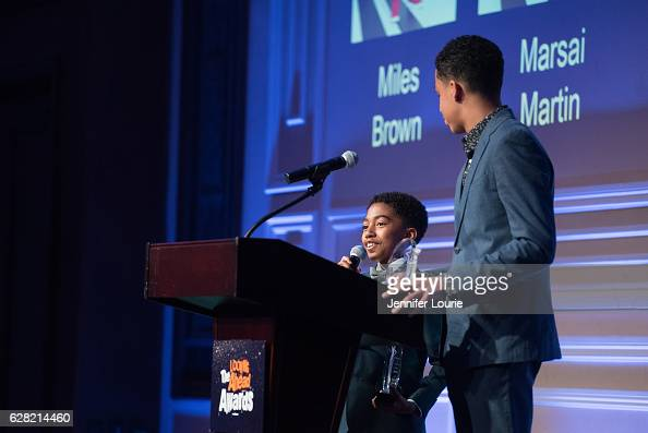 Winner of the Elizabeth Taylor Award for Social Awareness Miles Brown and Marcus Scribner attend the Actors Fund's 2016 Looking Ahead Awards at the...