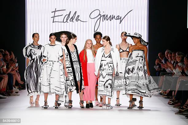 Winner of the fashion talent award 'Designer for Tomorrow' by Peek Cloppenburg and Fashion ID hosted by Alber Elbaz Edda Gimnes poses with models...