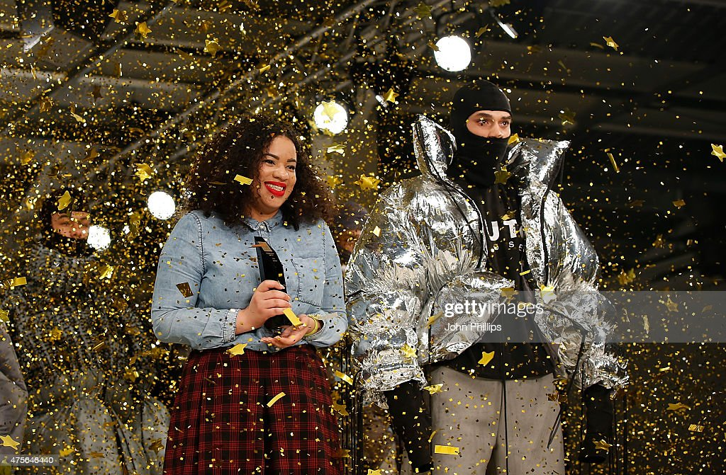 Winner of the George Gold Award Hannah Wallace on day 4 of Graduate Fashion Week at The Old Truman Brewery on June 2 2015 in London England