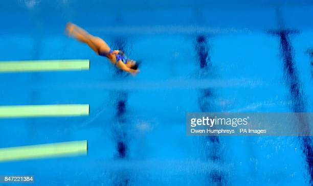 Winner of the Gold Medal China's Minxia Wu in action in the 3m springboard final during the 18th FINA Visa Diving World Cup at the Aquatics Centre in...